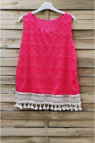 LACE TOP HAS POM-POMS 0978 CORAL