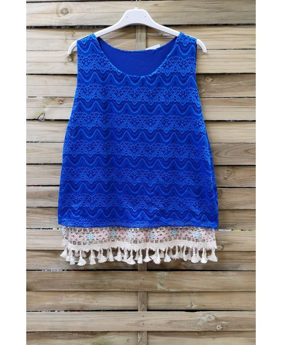 DE KANTEN TOP HEEFT POM-POMS 0978 ROYAL BLUE