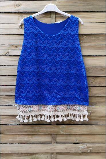 LACE TOP HAS POM-POMS 0978 ROYAL BLUE