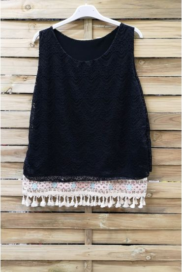 LACE TOP HAS POM-POMS 0978 BLACK