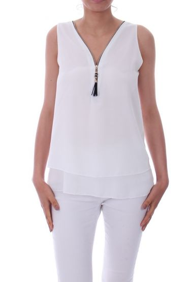 TOP ZIPS BACK CROSSES 0887 WHITE