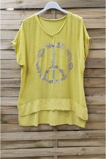 T-SHIRT PEACE AND LOVE 1006 YELLOW