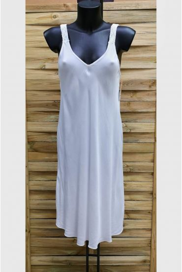 DRESS HAS SHOULDER STRAPS FLUID 1014 WHITE