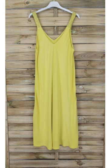DRESS HAS SHOULDER STRAPS FLUID 1014 YELLOW