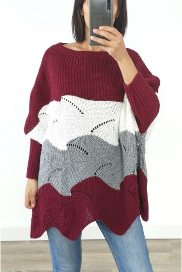 PULLOVER WOOL AJOURE OVERSIZE 3017 BORDEAUX