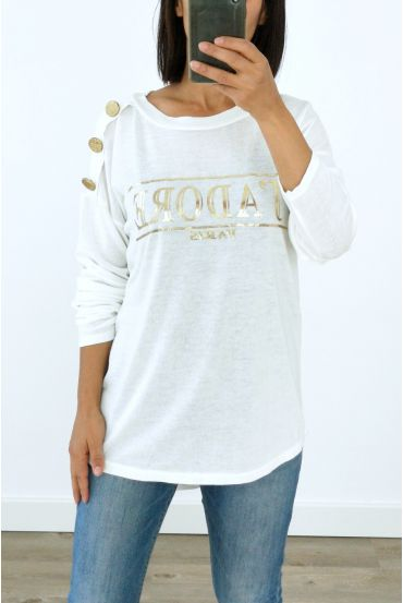 SWEATER SHOULDER BUTTONS I LOVE 3029 WHITE