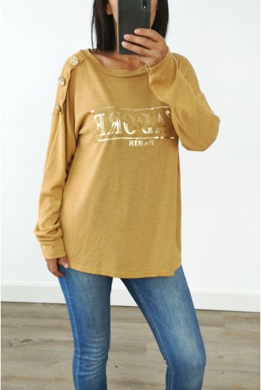 SWEATER SHOULDER BUTTONS I LOVE 3029 MUSTARD