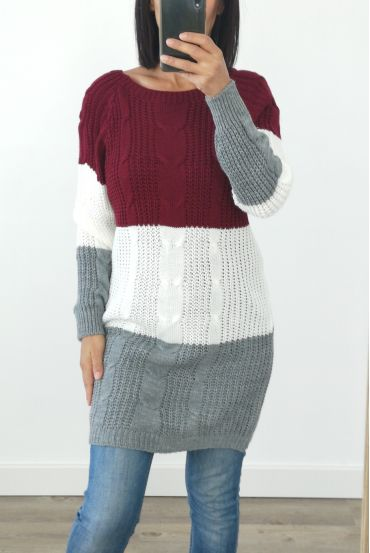 PULL THE LONG WOOL 3032 BORDEAUX
