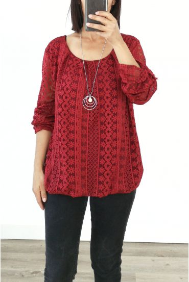 LACE TOP + NECKLACE OFFERED 3036 BORDEAUX