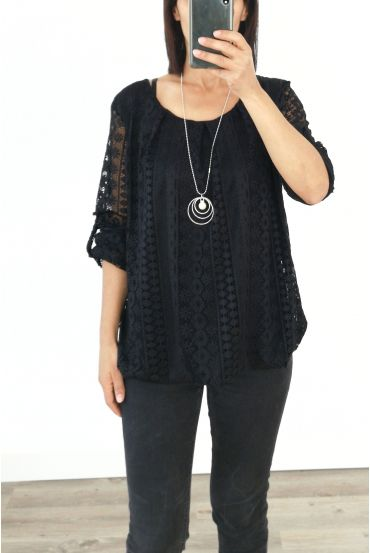 LACE TOP + NECKLACE OFFERED 3036 BLACK