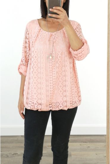 LACE TOP + NECKLACE OFFERED 3036 PINK