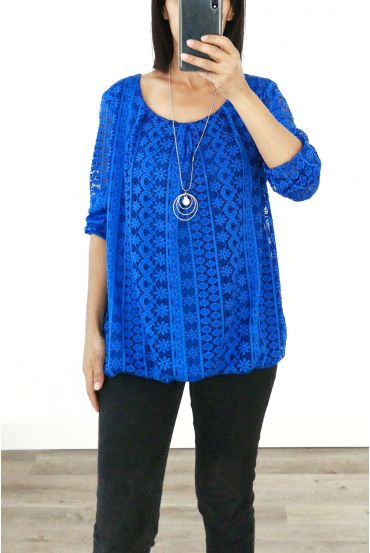 LACE TOP + NECKLACE OFFERED 3036 ROYAL BLUE