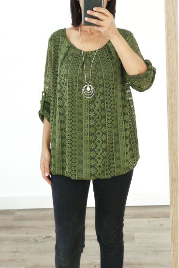 LACE TOP + NECKLACE OFFERED 3036 MILITARY GREEN