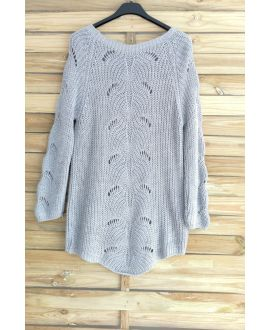PULLOVER WOOL AJOURE 3015 GREY