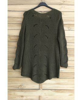 PULLOVER WOOL AJOURE 3015 MILITARY GREEN