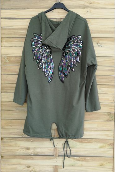 JACKET BACK WINGS HAS GLITTER 3040 MILITARY GREEN