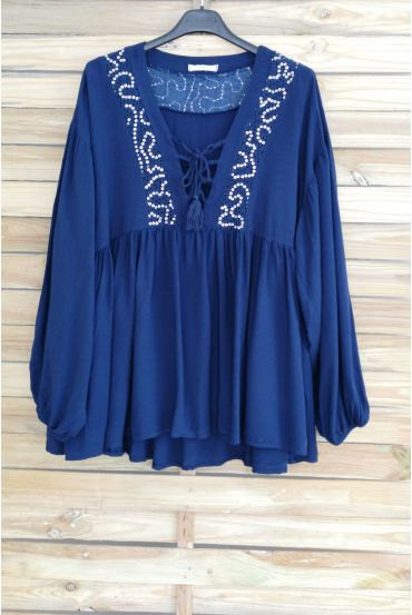 TUNIC OVERSIZE HAS SEQUINS 3045 NAVY BLUE