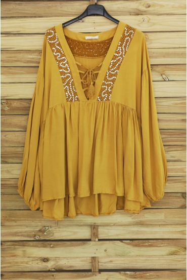TUNIC OVERSIZE HAS SEQUINS 3045 MUSTARD