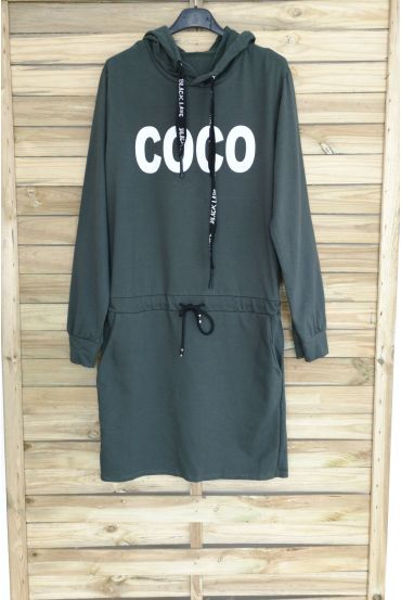 DRESS HAS HOODY COCO 3063 MILITARY GREEN