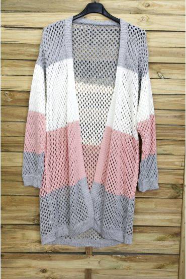 VEST LONG AJOURE 3082 LIGHT GREY