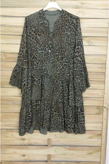 DRESS TUNIC OVERSIZE LEOPARD 3080 MILITARY GREEN