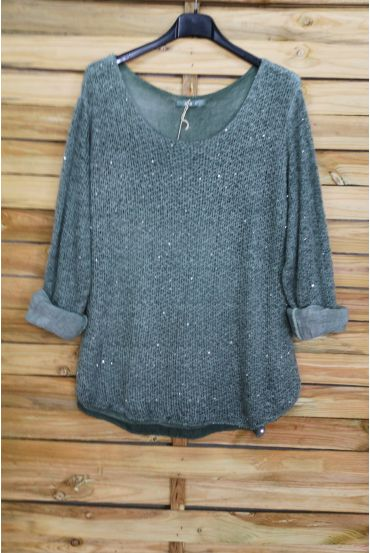 SWEATER MOHAIR SEQUINS 3069 MILITARY GREEN