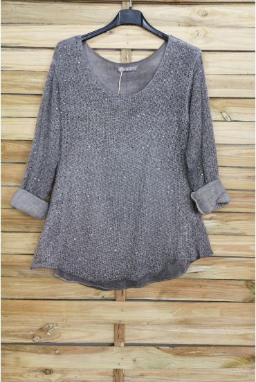 SWEATER MOHAIR SEQUINS 3069 GREY