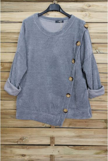 PULLOVER VELOUR BUTTONS 3068 GREY