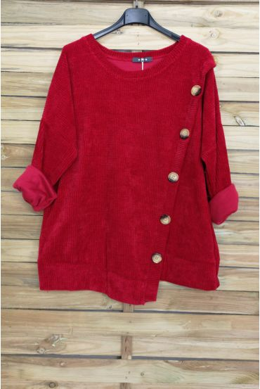 PULLOVER VELOUR BUTTONS 3068 RED