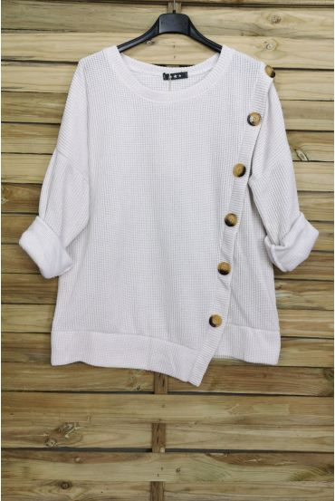 PULLOVER VELOUR BUTTONS 3068 WHITE