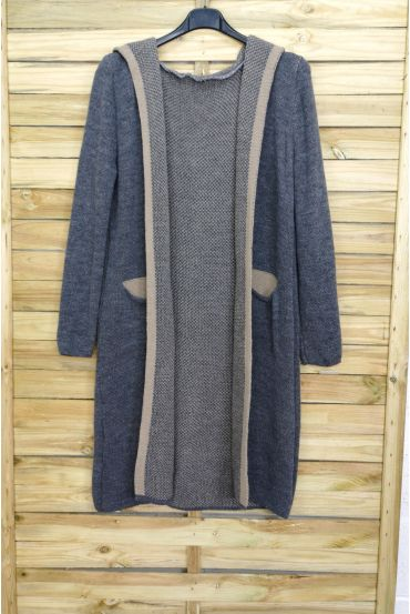 CARDIGAN LONG MOHAIR HAS HOOD 3083 GREY