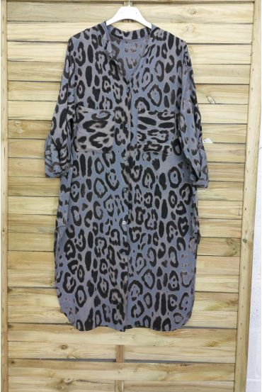 TUNIC LONG OVERSIZE LEOPARD 3095 BLUE