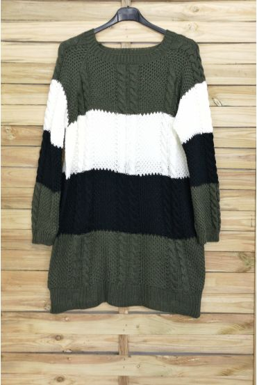 LARGE SIZE SWEATER LONG KNIT 4017 GREEN MILITARY OFFICER