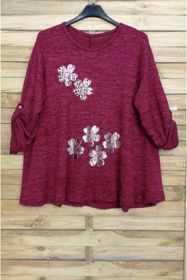 GRANDE TAILLE PULL FLOCAGE 4022 BORDEAUX