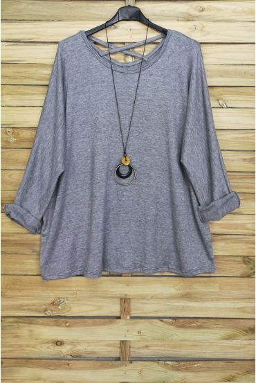 GRANDE TAILLE PULL DOS CROISE + COLLIER OFFERT 4020 GRIS