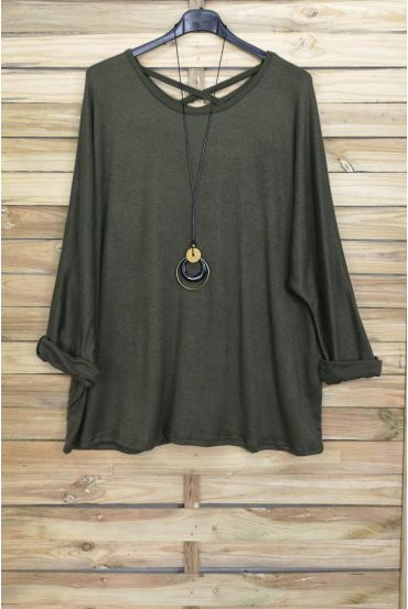 GRANDE TAILLE PULL DOS CROISE + COLLIER OFFERT 4020 VERT MILITAIRE