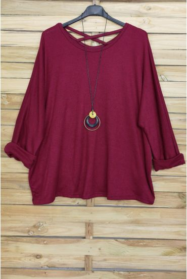 LARGE SIZE SWEATER BACK CROSS + NECKLACE OFFERED 4020 BORDEAUX