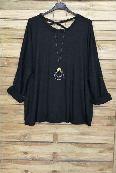 LARGE SIZE SWEATER BACK CROSS + NECKLACE OFFERED 4020 BLACK