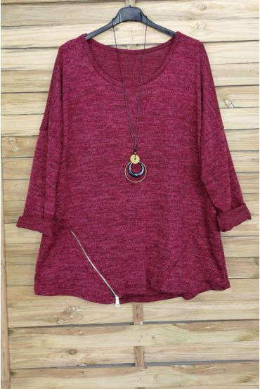 LARGE SIZE SWEATER ZIPS + PADDED OFFERED 4018 BORDEAUX