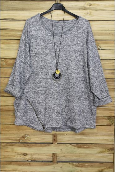 LARGE SIZE SWEATER ZIPS + PADDED OFFERED 4018 GREY