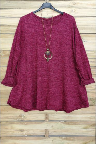 LARGE SIZE PULL EVASE + NECKLACE OFFERED 4016 BORDEAUX
