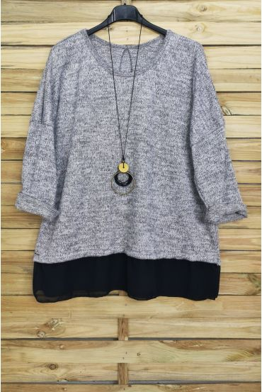GRANDE TAILLE PULL BASE VOILAGE + COLLIER OFFERT 4012 GRIS