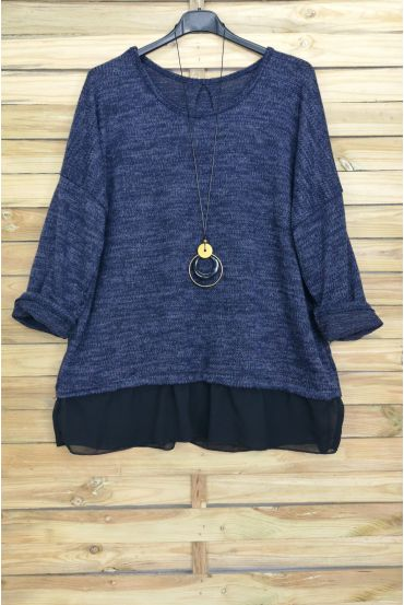 LARGE SIZE PULL-BASED CLOAKING + NECKLACE OFFERED 4012 NAVY BLUE
