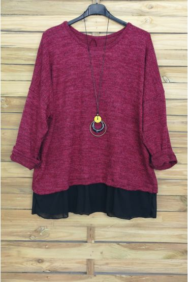 LARGE SIZE PULL-BASED CLOAKING + NECKLACE OFFERED 4012 BORDEAUX