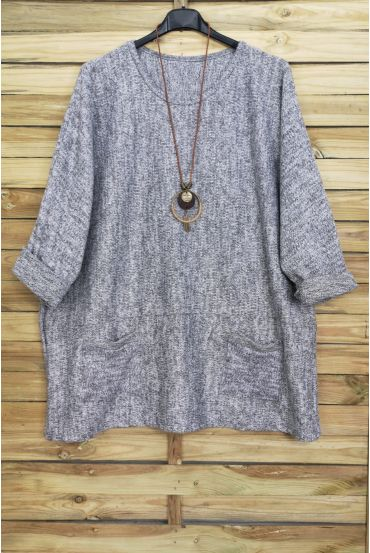 GRANDE TAILLE PULL 2 POCHES + COLLIER OFFERT 4015 GRIS
