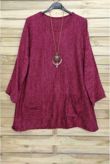 GRANDE TAILLE PULL 2 POCHES + COLLIER OFFERT 4015 BORDEAUX
