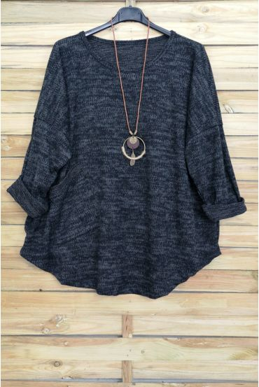 LARGE SIZE SWEATER 1 POCKET + NECKLACE AVAILABLE IN BLACK