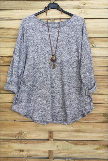 LARGE SIZE SWEATER 1 POCKET + NECKLACE OFFERED GREY