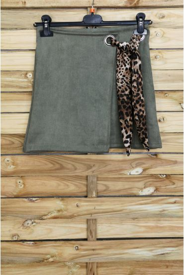 LOT 3 SKIRTS SUEDE EFFECT WALLET S-M-L 4027 MILITARY GREEN