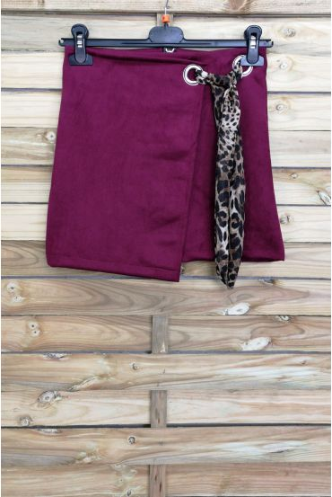 LOT 3 SKIRTS SUEDE EFFECT WALLET S-M-L 4027 BORDEAUX